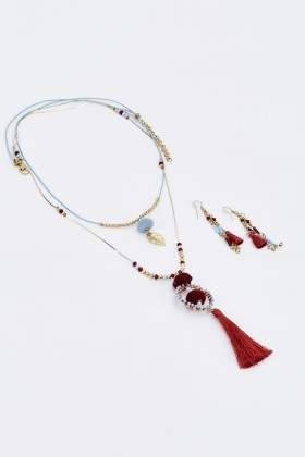 Beaded Pom Detailed Necklace And Earrings Set