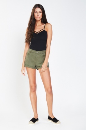 Casual Roll Up Denim Shorts