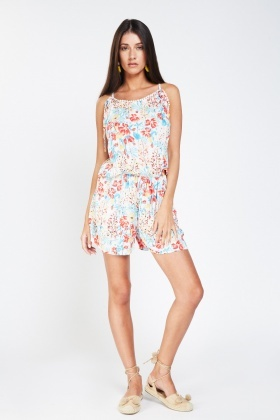 Floral Printed Frilly Playsuit