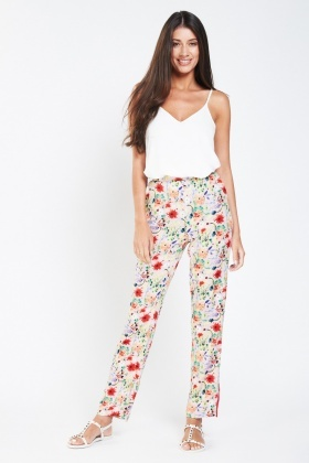 Floral Stripe Contrast Casual Trousers