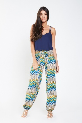 Gathered Zig-Zag Print Trousers