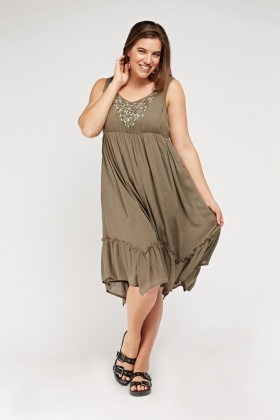 Khaki Embroidered Front Midi Dress