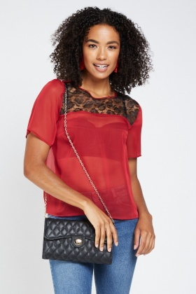 Lace Insert Sheer Chiffon Top
