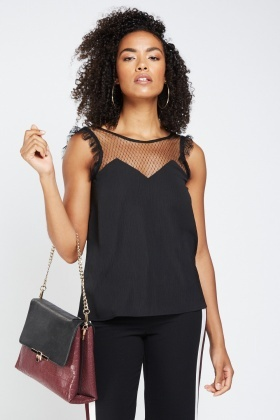 Mesh Insert Sheer Illusion Top