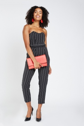 entire collection professional retro Strapless Sweetheart Striped Jumpsuit