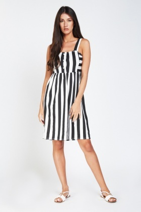 Strappy Button Front Striped Dress