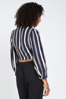 Tie Up Striped Wrap Blouse
