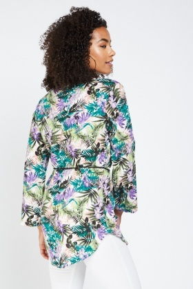 Tropical Flower Print Tunic Top