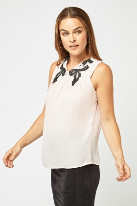 Bow Lace Collar Insert Shell Top