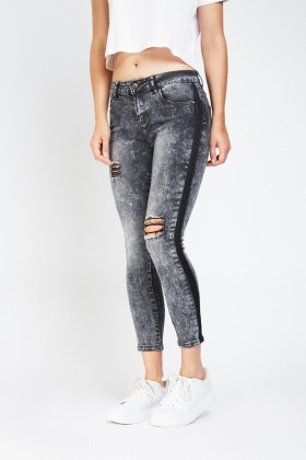 Distressed Skinny Rip Jeans