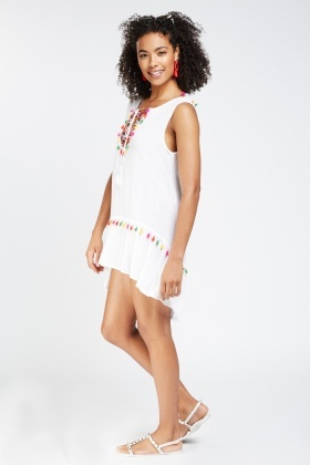 Embroidered Tassel Trim Dress