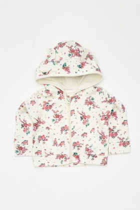 Flower Printed Hooded Jumper