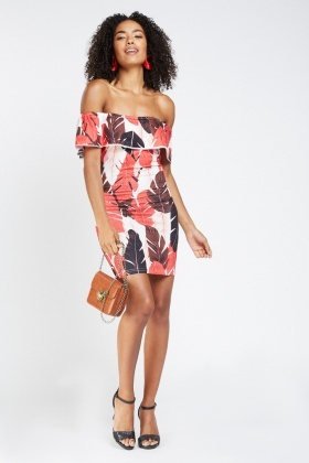 Frilly Leaf Print Midi Bardot Dress