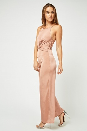 Knotted Front Wide Leg Jumpsuit