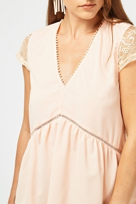 Lace Insert Sheer Peplum Top