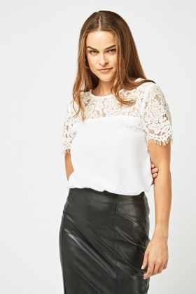 Laser Cut Lace Overlay Top