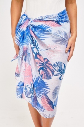 Metallic Palm Print Sheer Sarong