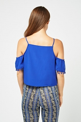 Pom-Pom Trim Cold Shoulder Top