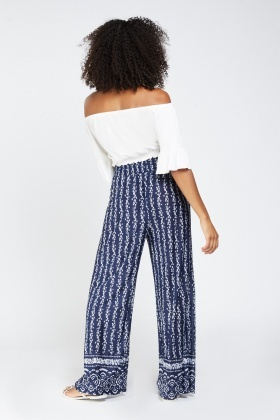 Printed Sheer Wide Leg Trousers