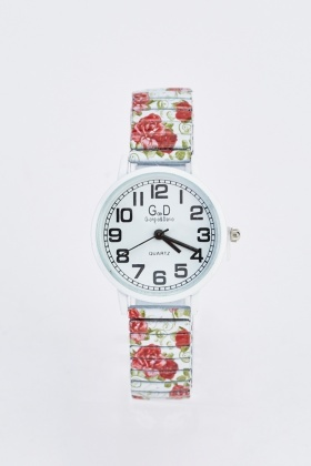 Rose Printed Elastic Watch