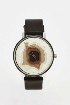Round Face Printed Watch