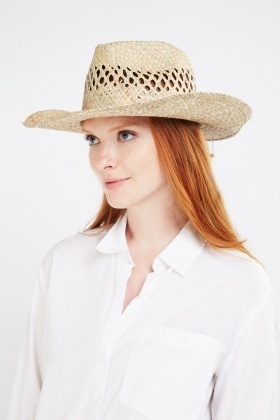 Shell Trim Basket Weave Panama Hat