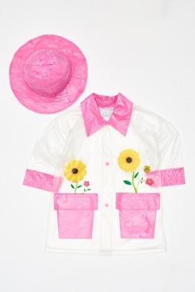 Colour Block Rain Coat And Hat Set 4b793622f