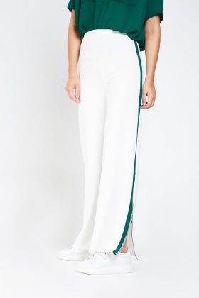 Contrasted Side Wide Leg Trousers