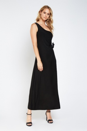Detail Side Asymmetric Maxi Dress