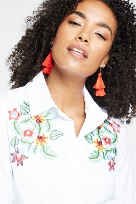 Flower Embroidered Detail Shirt