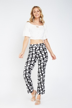 Flower Printed Slim Fit Trousers