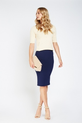 High Waist Formal Midi Skirt