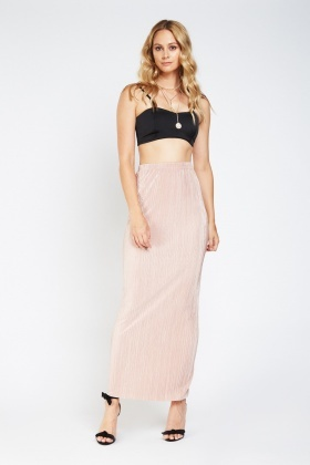 High Waist Pleated Maxi Skirt