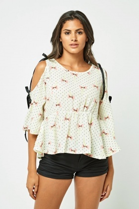 Mix Print Contrast Frilly Tunic Top