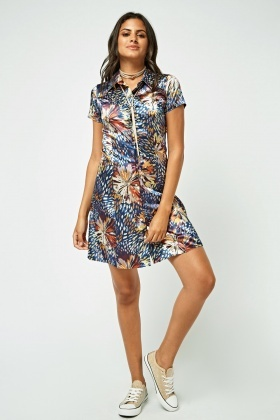 Printed Mini Sateen Shirt Dress