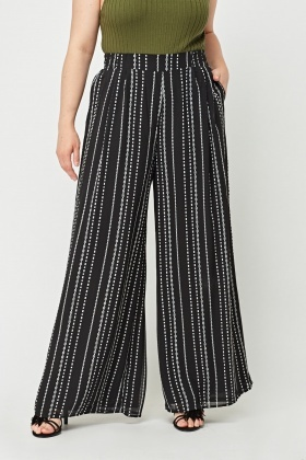 Printed Sheer Flare Leg Trousers