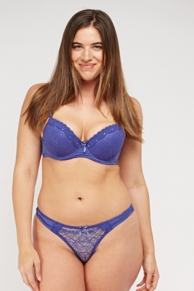 Purple Blue Lace Overlay Bra And Brief Set