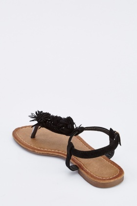 Fringed Suedette Flat Sandals