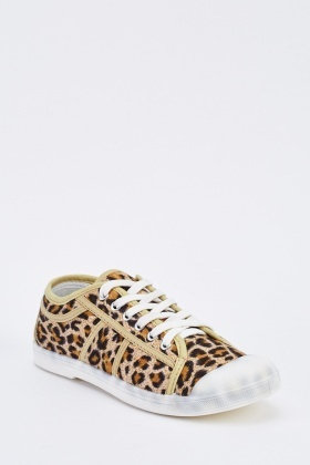 Leopard Print Low Top Trainers