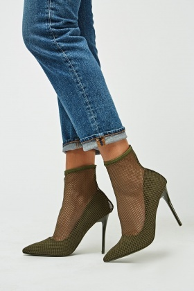Mesh Overlay Court Ankle Heels