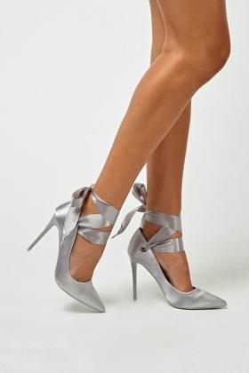 Sateen Tie Up Grey Heels - Just $6