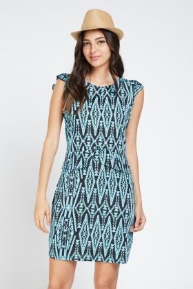 Aztec Print Frilly Peplum Dress