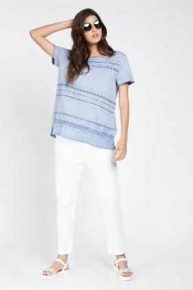 Crochet Speckled Contrast T-Shirt