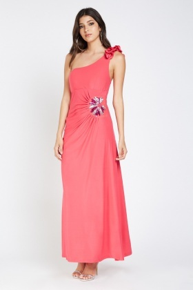 Embellished Ruffle One Shoulder Maxi Dress