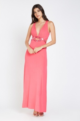 Embroidered Sequin Insert Maxi Dress