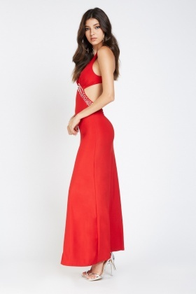 6ca439c26038 Encrusted Low Plunge Maxi Dress - Just £5