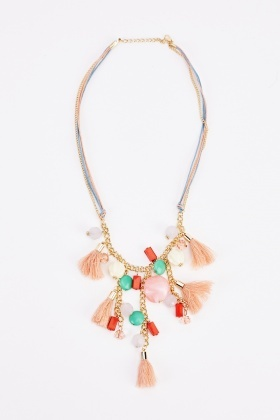 Fringed Chained Coloured Necklace And Earrings Set