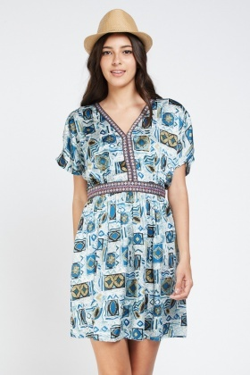 Mix Printed Tunic Dress