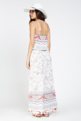Mixed Ornate Print Maxi Dress