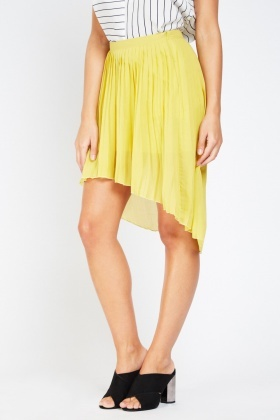 Pleated Sheer Dip Hem Skirt